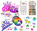 Make-Your-Own-Unicorn-Princess-Tiara-For-12-Children-12-Foam-Tiaras-102-Foam-Princess-Stickers-135-Crystal-Colored-Stick-on-Rhinestones-Princess-Theme-Party-Activity-Set-and-Unicorn-Party-Pin
