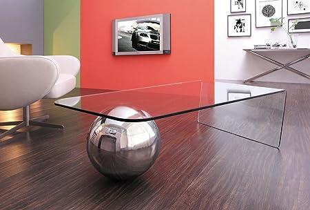 Design Couchtisch Cosmos aus Glas klar | 135 x 76 x 36cm | Wohnzimmer Glastisch mit Metallkugel, gebogene Glasplatte | hochwertig verarbeitet