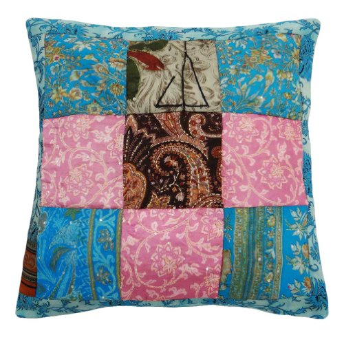 "Multicolor Couch Pillow Case Kantha Stitch Cushion Cover Patchwork India Gift 17"" front-1076066"
