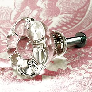 Vintage Clear Flower Glass Cabinet Knobs 4 Kitchen Drawer Pulls T11