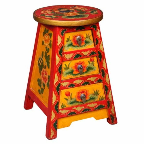 Cheap EXP Handmade Asian Furniture 18-Inch Yellow and Red Tibetan Accent/End Table with Painted Flowers, 3-Drawer (frc1018)