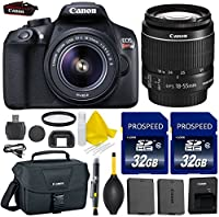 Canon EOS Rebel T6 WiFi Enabled 18MP EF-S Digital SLR Camera Bundle + Canon EF-S 18-55mm IS Lens + 2pc High Speed 32GB Memory Cards + UV Filter + Extra Battery + Deluxe Canon Case + 9pc Accessory Kit