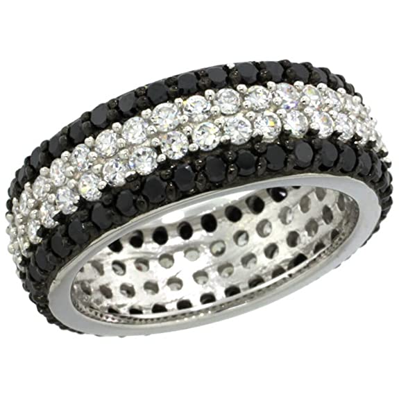 Revoni Sterling Silver 4-Row Eternity Ring Band w/ Brilliant Cut Clear & Black CZ Stones, 5/16 in. (8mm) wide