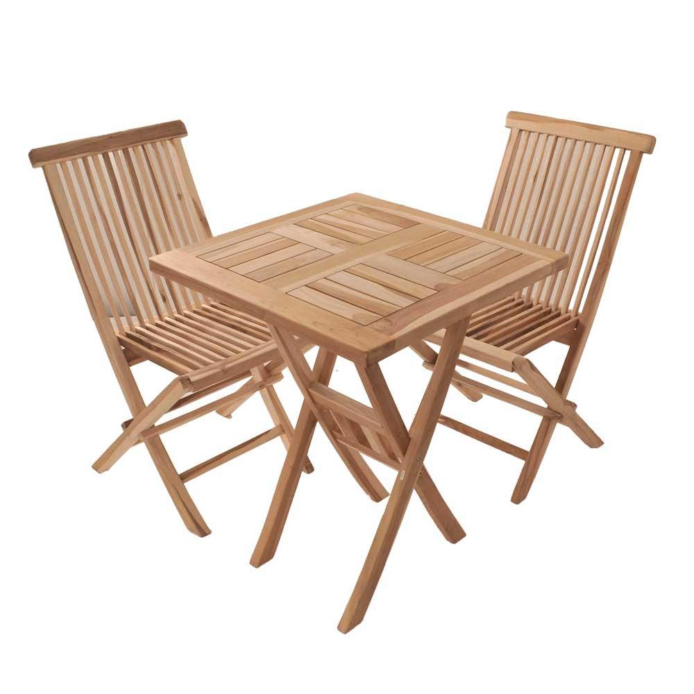 Massivholz Sitzgruppe für Balkon Teak (3-teilig) Pharao24