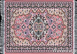 Pink Woven Rug Mouse Pad - Persian Style Carpet Mouse Mat