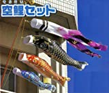 【コンパクトサイズ】2m大空鯉 金箔綾織り撥水加工鯉のぼりフルセット[どこでもスタンド設置金具付]