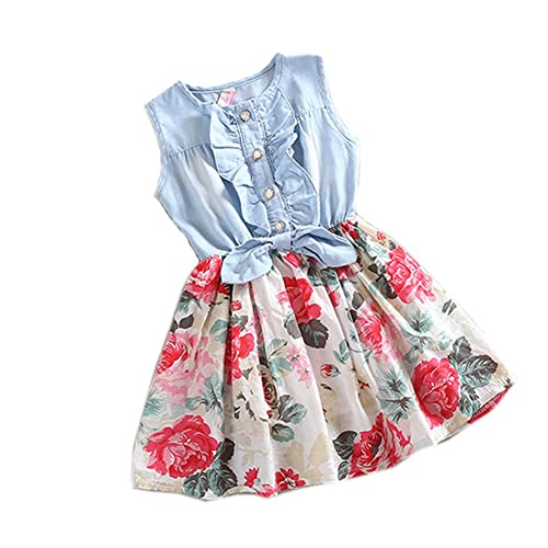 Amoin Baby Girl Tutu Denim Dress Short Sleeve Lace Princess Party