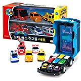 The Little Bus Tayo Friends Mini Car Carrier Storage Toy + Special Mini Cars Set 6 Pcs (Citu + Alice + Nuri + Pat + Toto + Frank)