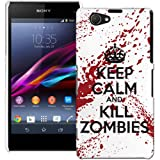 Sony Xperia Z1 Compact Case - White and Red Hard Plastic (PC) Cover with Funny Keep Calm Kill Zombies Design