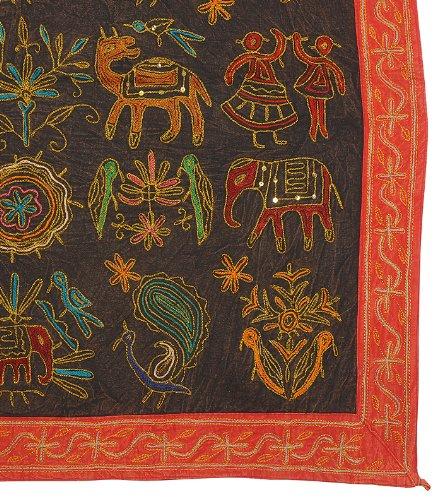 Imagen 3 de Zari bordado y lentejuelas trabajadas pared tradicional de algodón indio colgante-Mesa-Tapestry Tamaño banda 36 x 36 pulgadas