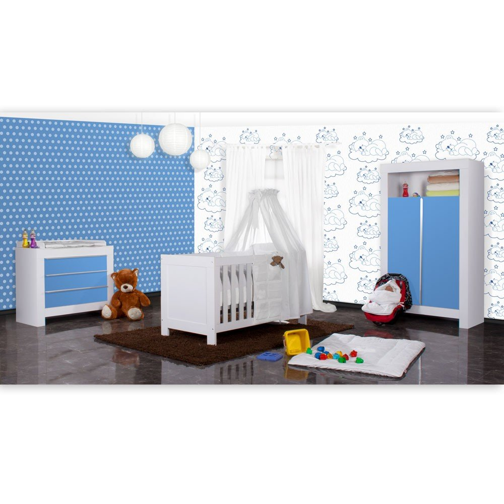 Babyzimmer Felix in weiss/blau 19 tlg. mit 2 türigem Kl + Sleeping Bear in weiss