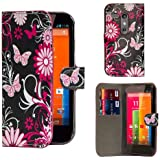 32nd® Design book wallet PU leather case cover for Motorola Moto G (1st Gen / 2013 edition) + screen protector and cleaning cloth - Gerbera