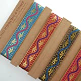 Stunning India Sari Decorative Ribbon 2cm Gold Red Violet Cerise Ribbon Trim with indian Jacquard pattern Satin and metallic ribbon but Soft feel trim for Sewing or Hobby Crafts or Scrap Booking or Card making Washable and Durable to decorate garments or