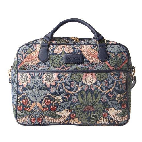 Borsa briefcase donna di Signare in tessuto stile arazzo alla moda, 15,6 pollici William Morris Ladro di fragole blu
