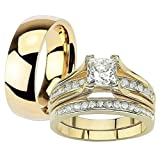 Her & His 14K G.P. Stainless Steel 3pc Wedding Engagement Ring & Men's Band Set Women's Size 06 Men's 08mm Size 12