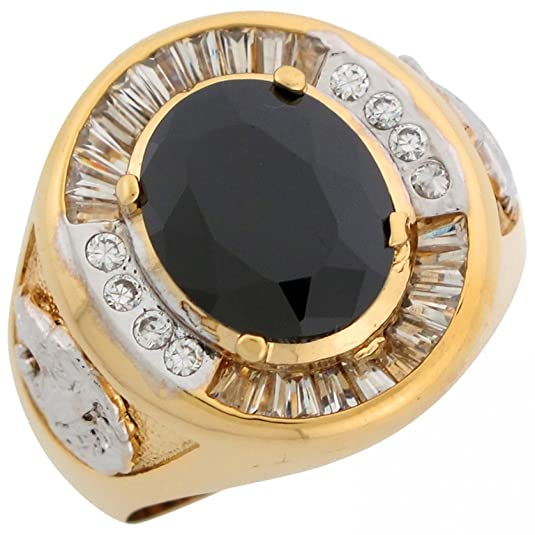 14ct Two Colour Gold Black & White CZ Lion Head Accents Fancy Mens Ring