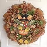 Thanksgiving Pilgrim Turkey Welcome Wreath Handmade Deco Mesh