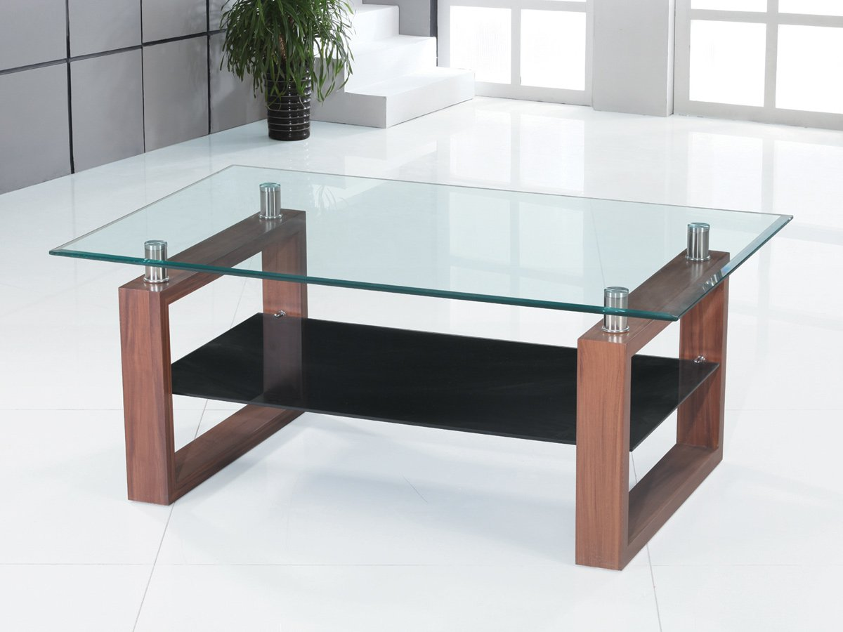 Coffee Table Clear & Black Glass Dark Wood Legs 1 Shelf Occasional Reception       reviews and more information