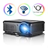 Android6.0 WiFi Bluetooth Projector 3200Lumens LCD LED Projector 1080p 720p Full HD Support, Multimedia Home Theater Video Projector Speakers HDMI Cable Remote for Phone iPhone PC USB Outdoor Movies (Color: 3200 Lumens Wifi Bluetooth Home Theater Projector)