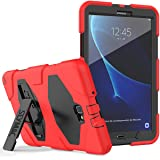 """Samsung Tab A 10.1 Case SM-T580/SM-T585/SM-T587 Case, SEYMAC Heavy Duty Full Body Rugged Shock Drop Protection Case with Built-in Screen Protector and Stand for Galaxy Tab A 10.1"""" 2016-Black/Red (Color: Black/red)"""