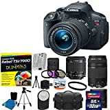 Canon EOS Rebel T5i 18.0 MP CMOS Digital Camera HD Video with EF-S 18-55mm f 3.5-5.6 IS STM Zoom Lens + EF 75-300mm f 4-5.6 III Telephoto Zoom Lens + Extra Battery With T5i 700D For Dummies + UV Filter Kit with 32GB Complete 17 Deluxe Accessory Bundle