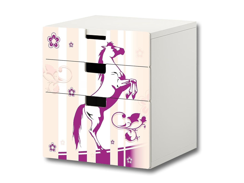 """""""Pferdewelt"""" Möbelsticker / Aufkleber – S3K22 – passend für die Kinderzimmer Kommode mit 3 Fächern / Schubladen STUVA von IKEA – Bestehend aus 3 passgenauen Möbelfolien (Möbel nicht inklusive) jetzt bestellen"""