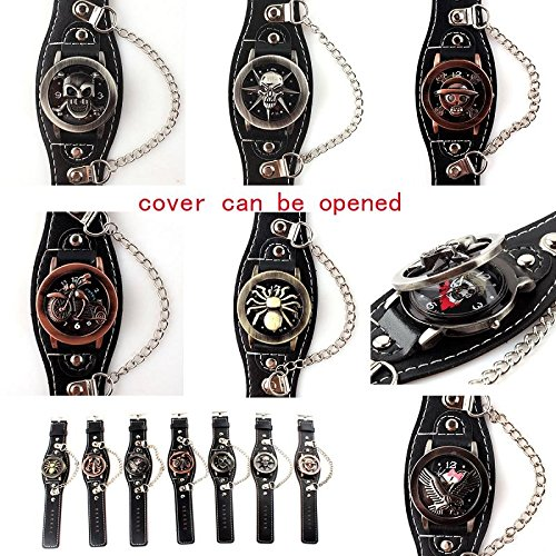 Novelty Bands Watches promotional discount: Cool Retro Novelty Vintage Genuine Handmade Flip Watch for Men Leather Band
