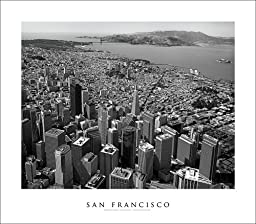 San Francisco Golden Gate Bridge | Aerial Photography (Black and White) #12 Art Print Poster