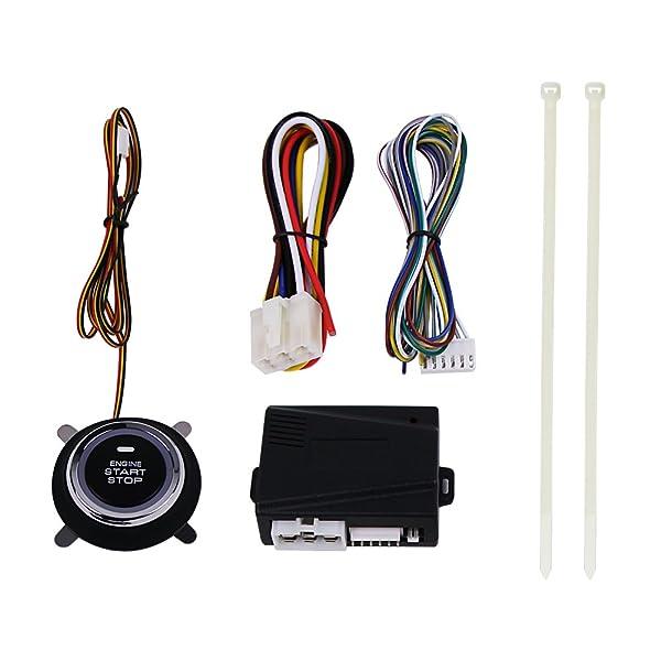 Car Alarm Security & Keyless Entry System, Catinbow Car Engine Push Start Button Engine Lock Ignition Starter Keyless Entry System for Cars DC12V