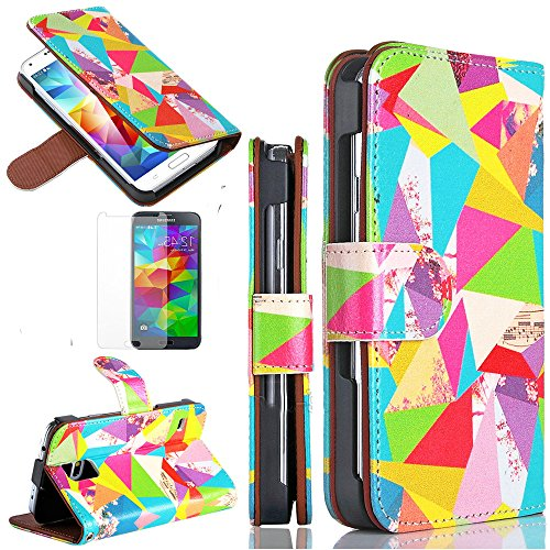 myLife TM Abstract Colors - Classic Design - Koskin Faux Leather Card - Cash and ID Holder Magnetic Detachable Closing Hand Strap Slim Wallet for NEW Galaxy S5 5G Smartphone by Samsung External Rugged Synthetic Leather With Magnetic Clip Internal Secure Snap In Hard Rubberized Bumper Holder