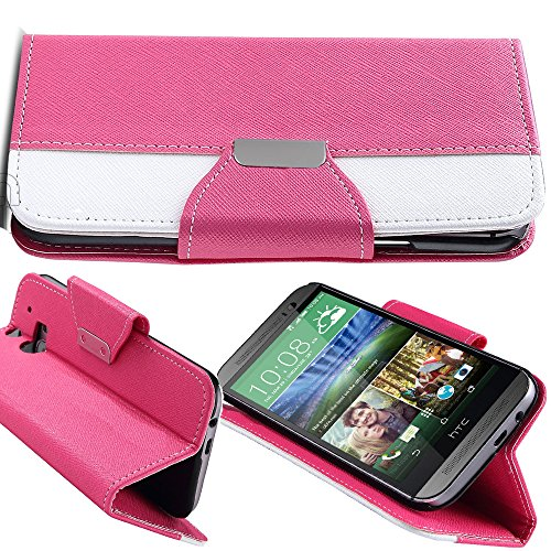 Mylife (Tm) Flower Pink {Hipster Design} Faux Leather (Card, Cash And Id Holder + Magnetic Closing) Slim Wallet For The All-New Htc One M8 Android Smartphone - Aka, 2Nd Gen Htc One (External Textured Synthetic Leather With Magnetic Clip + Internal Secure