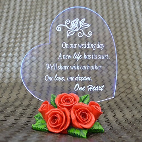 Giftgarden® Cake Toppers LED Light and Red Rose Statues Wedding Decor Figurine