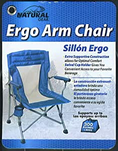 Amazon Com Natural Gear Folding Arm Chair With Drink