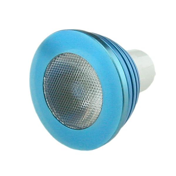 Bombilla LED HitLights BlueWind multicolor RGB 3 Watt MR16 / GU5.3 – 10 años de vida útil incluye control remoto con la función de memoria – 16 colores, 12v (Ideal para la decoración de navidad)