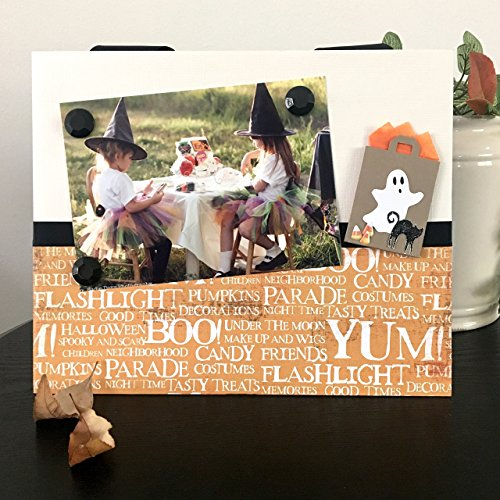 [Boo Ghost Halloween Fall Autumn October Costumes Candy Trick-or-Treat Pumpkins gift handmade magnetic picture frame holds 5