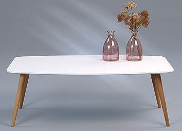 Dreams4Home Couchtisch 'Meo I' - Tisch, Sofatisch, Beistelltisch, Ablagetisch, Abmessungen: 120 x 43 x 70 cm, Wohnzimmer, Gästezimmer, Wintergarten, Gestell: Wildeiche massiv geölt, Tischplatte: MDF - matt weiß lackiert