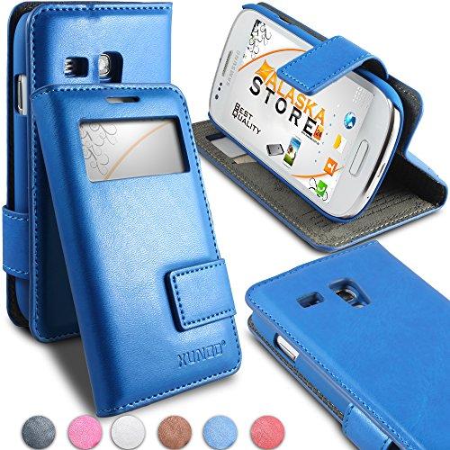 Alaskaprint- Flip Handy Tasche Blau für Samsung Galaxy S3 Mini i8190 i8192 i8195 mit Fenster G12, Cover, Schutzhülle, Etui Case, Wallet Karte, Magnetverschluss