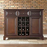 Crosley Furniture Newport Buffet Server/Sideboard Cabinet with Wine Storage, Vintage Mahogany