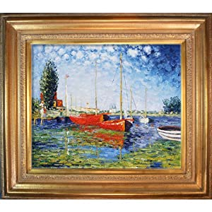 Hand painted reproduction of claude monet red for Framed reproduction oil paintings