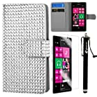 MINITURTLE, Sparkly Bling Rhinestone Studded PU Leather Flip Book Fashion Wallet Phone Case Cover for Prepaid Windows 8 Smartphone Nokia Lumia 521 /T Mobile /MetroPCS (Silver)