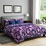 RAGO RELISH FLORAL PRINT PURPLE AND BLUE Double Bedsheet Set