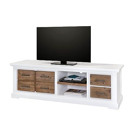TV Lowboard Weiß / Braun Bank im Landhausstil Massivholz Holz Akazie massiv 180 cm Breit