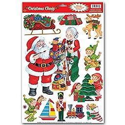 Christmas Window Clings Decals - Wreath, Santa, Penguins, Rudolf, Polar Bear, Owl, Snowflakes, Happy Holidays - 4Pack Assorted Styles
