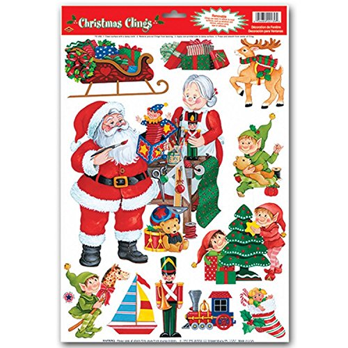 Christmas Window Clings Decals - Wreath, Santa, Penguins, Rudolf, Polar Bear, Owl, Snowflakes, Happy Holidays - 4Pack Assorted Styles