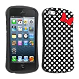 Mobiflare Apple Iphone 5S/5 5C Black/White Polk-a-Dots with Bow Slim Armor Design Case