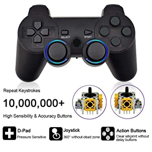 PS3 Controller, Wireless Bluetooth Gamepad Double Vibration Six-Axis Remote Joystick for Playstation 3 with Charging Cord (1-Pack) (Color: 1-pack)