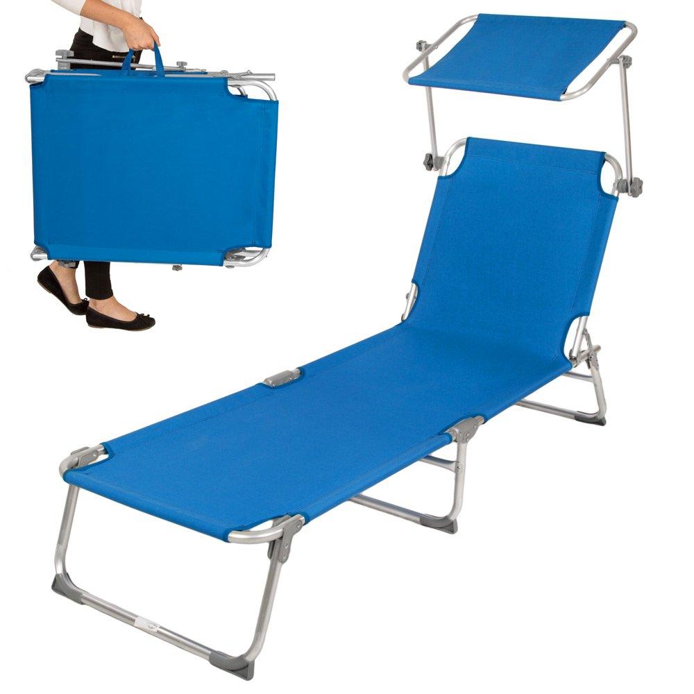TecTake Aluminium Gartenliege Sonnenliege klappbar mit Sonnendach 190cm blau günstig online kaufen
