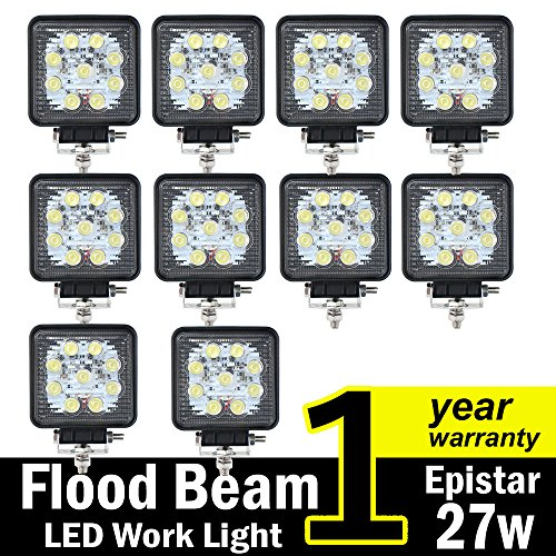 TMH-27w-Square-Shape-60-Degree-LED-Work-Light-Flood-Beam-Spot-Lamp-Driving-Light-Jeep-Off-road-4wd-4x4-Utv-Sand-Rail-Atv-Suv-Motorbike-Motorcycle-Bike-Dirt-Bike-Bus-Trailer-Truck-Train-Mining-Truck-Ex