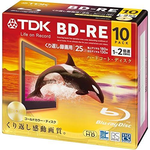 TDK 録画用ブルーレイディスク ハードコート仕様 BD-RE 25GB 1-2倍速 ゴールドディスク 10枚パック 5mmスリムケース BEV25A10A