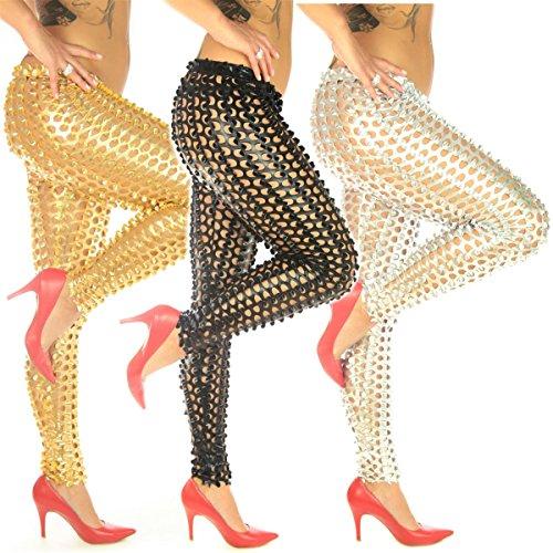 Sexy Damen Leggings Metallic Gold Silber Schwarz mit Cut Outs Wetlook - Designer Fashion
